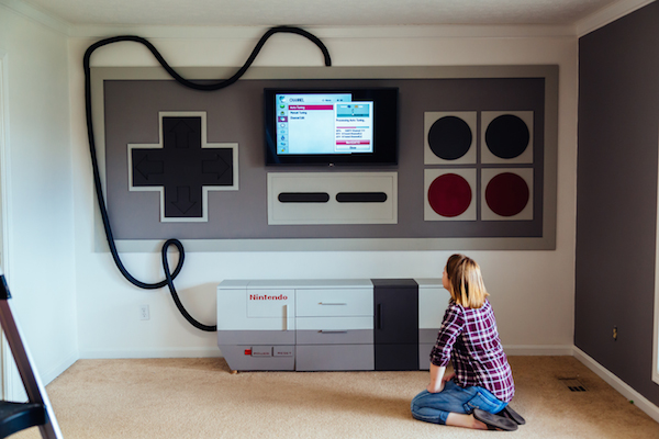 A Room Creatively Transformed Into Nintendo Controller-Inspired Gaming Space - DesignTAXI.com