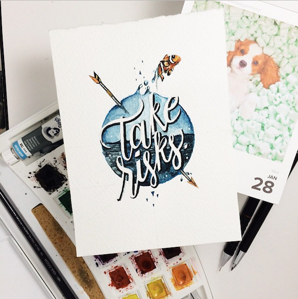 Designer Makes Inspiring Typography-Based Watercolor Art Daily For ...
