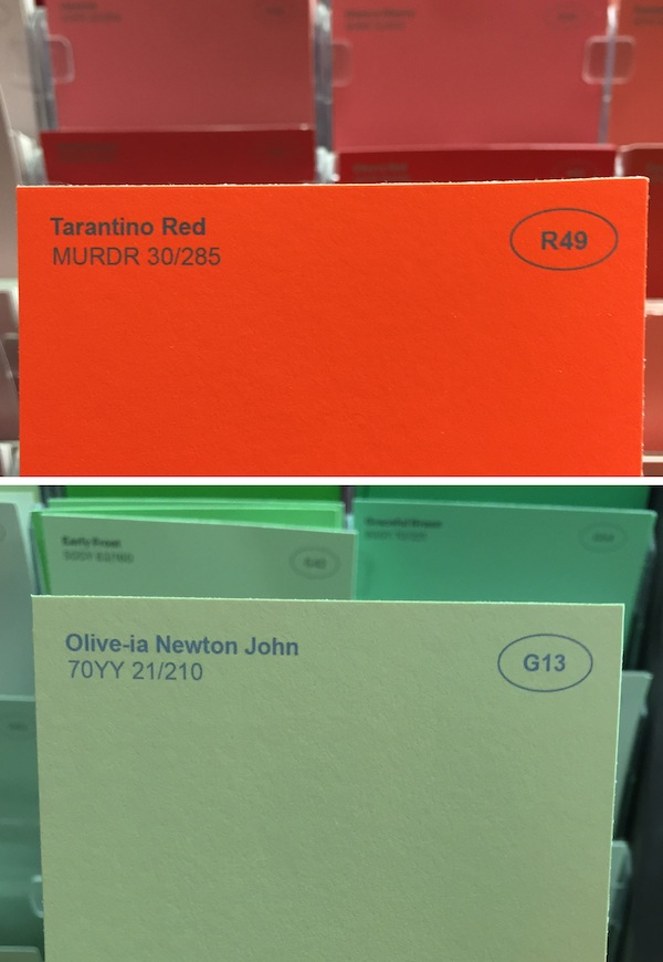 man comes up with funny new names for paint colors at a hardware