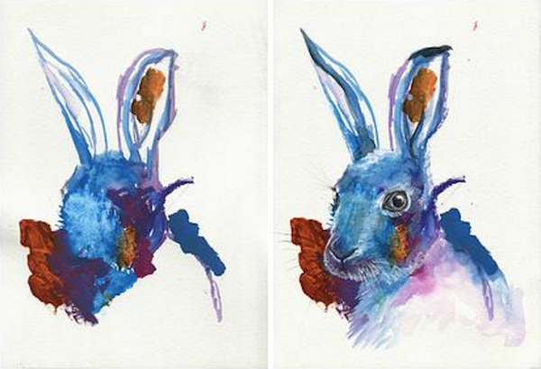Artist Creates Beautiful Paintings From Her Three-Year-Old Daughter's Doodles - DesignTAXI.com