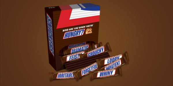 snickers humorously replaces its logo with 21 words for