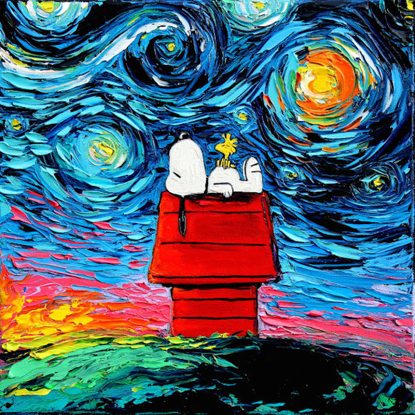 pop culture icons invade van gogh s starry night painting in