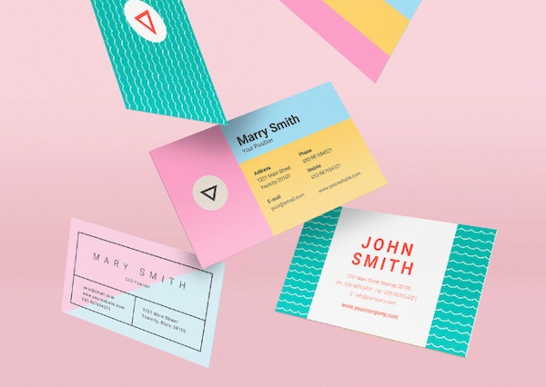 Three Colorful Pastel Business Card Layouts By Guuver
