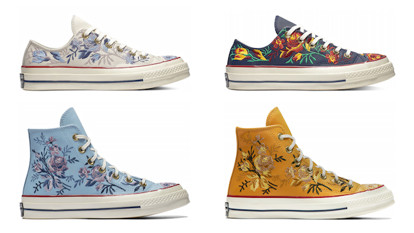 a78ea3d8aaaa Stop and smell the flowers with Converse s  Chuck 70 Floral Leather  high  top and low top sneakers.