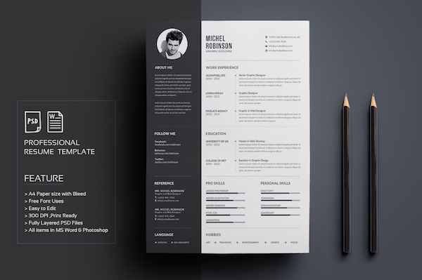 Nice Resume Template For MS Word, Image Via Fortunelle Resumes