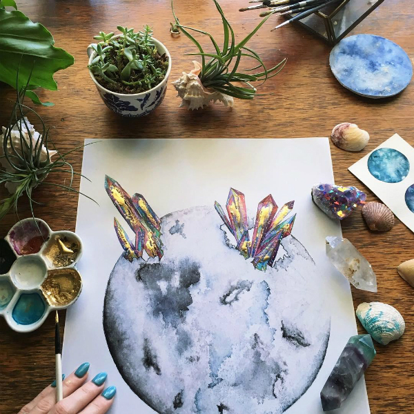 Artist's Spellbinding Watercolor Illustrations Of Nature, Moons Are Truly Gems