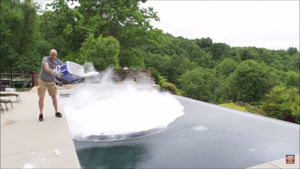 Watch What Happens When You Dunk 30 Pounds Of Dry Ice Into A Swimming Pool