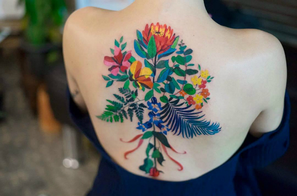 Elegant Tattoos That Look Like Color Pencil Doodles