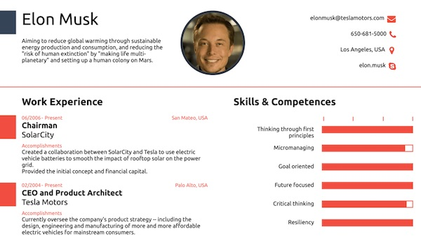 Résumé For Elon Musk, Founder Of Tesla Motors & SpaceX, Fits All ...