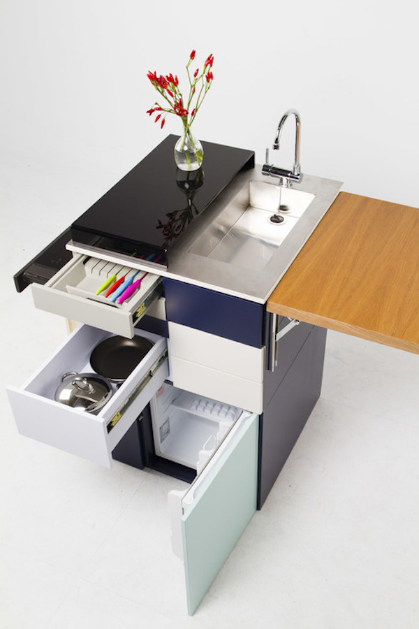 Nine Square Foot Compact Micro Kitchen Unfolds Like A
