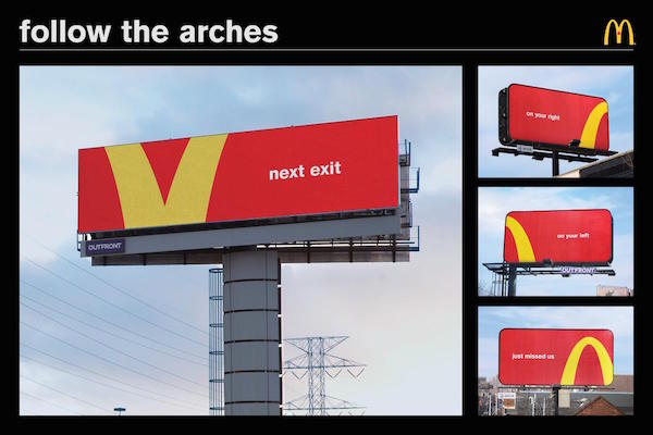 McDonald's Amusingly Turns Its Golden Arches Logo Into Directional Signs