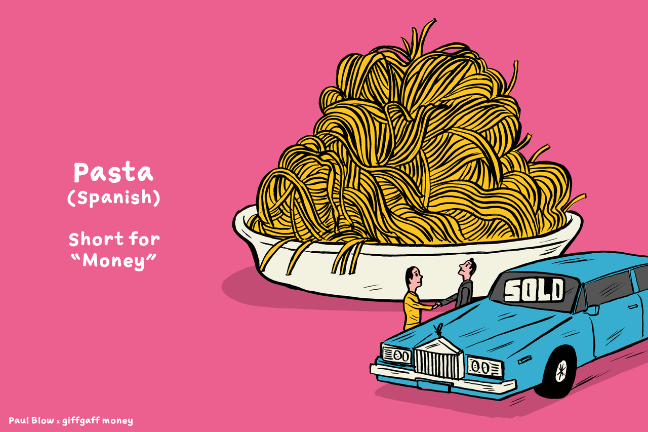 crazy slangs for money from around the world visualized in playful
