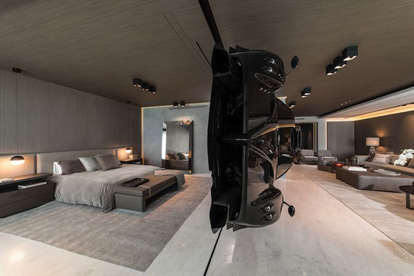 us 1 5 million rare pagani car acts as room divider floats in miami condo. Black Bedroom Furniture Sets. Home Design Ideas