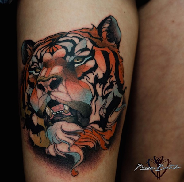 neotraditional tattoos of people and animals created