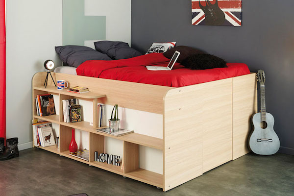 space-saving bed unit for small bedrooms opens up to reveal