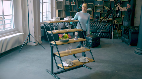 Watch clever table design transforms into a shelf within for Design table java swing