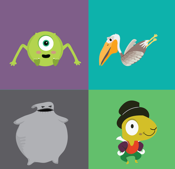 4 Letter Cartoon Characters : Disney pixar themed alphabet with characters cleverly