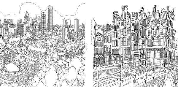 Coloring Book For Adults Features Intricate Aerial Views City Coloring Pages For Adults