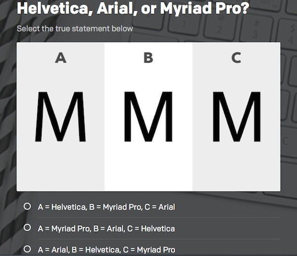 Can You Tell The Difference Between Helvetica, Arial And Myriad Pro