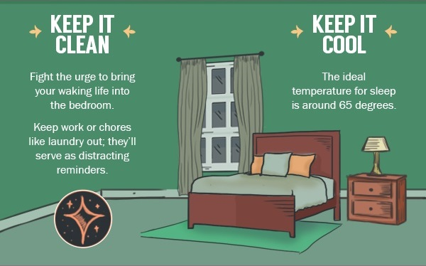 Simple Bedroom Exercises infographic: simple stretching exercises to get rid of workplace