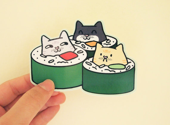 Funny Illustrated Stickers Show Cute Cats In Sushi Pizza