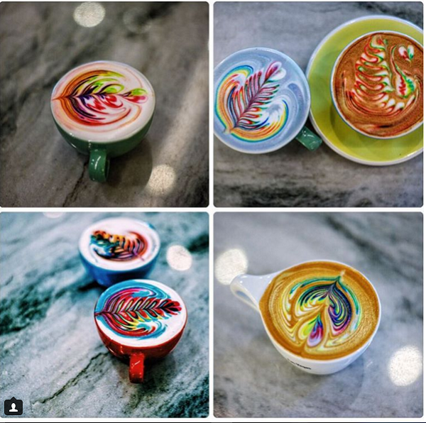 Barista Uses Food Dye To Create Colorful Latte Art - DesignTAXI.com