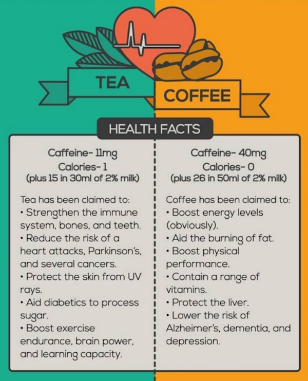 Infographic: How Coffee And Tea Measure Up, And The Health Benefits Of Both