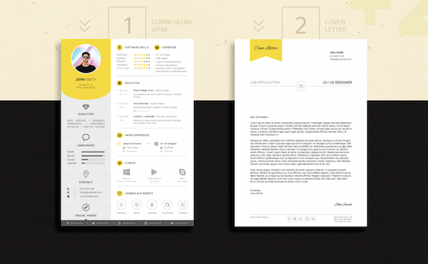 This Eye Catching Résumé Template Stands Out With Bright Color Accents    DesignTAXI.com  Resume That Stands Out