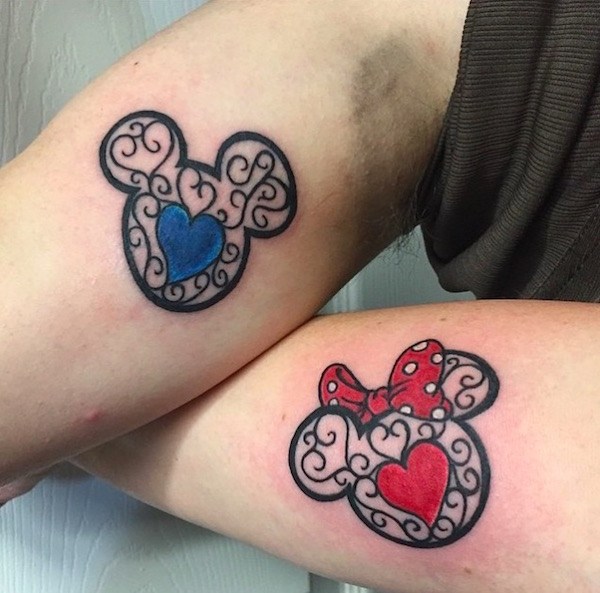 Awesome Couple Tattoos That Pay Homage To Some of The Best Disney Films