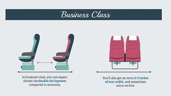 Infographic Differences Between Traveling Economy Business And First Class Designtaxi Com