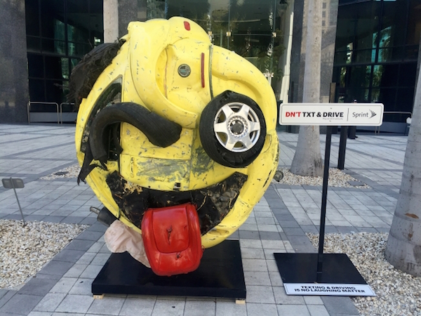 Emoji Sculpture Serves As Poignant Reminder To Not Text And Drive - DesignTAXI.com