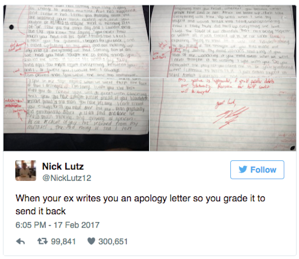 Man Corrected Graded His ExGirlfriends Apology Letter And