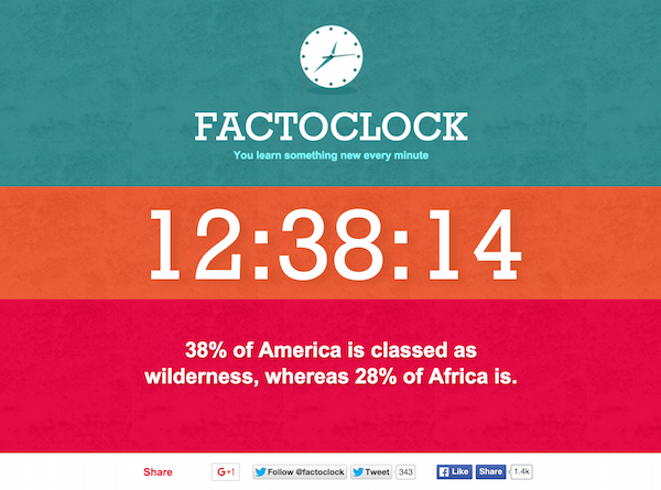Fun Web Clock Lets You Learn A New Fun Fact With Every Passing Minute
