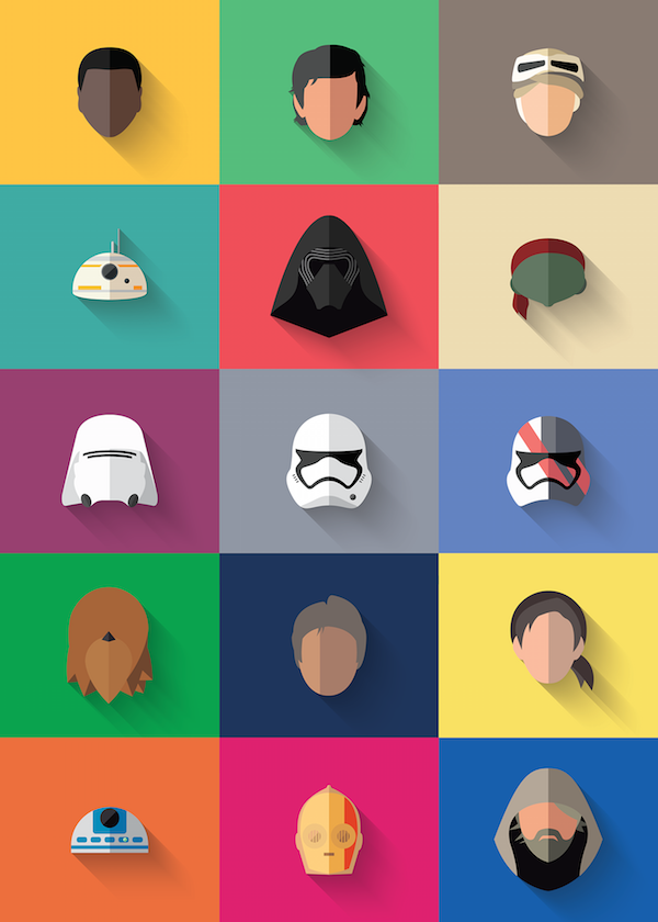 Colorful, Flat Icons Of Characters From 'Star Wars: The ...