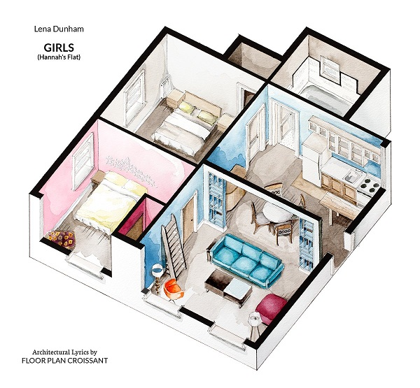 Watercolor floorplans of famous tv shows and films offer for Famous building blueprints
