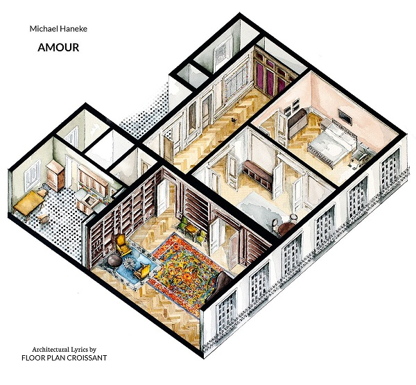 Watercolor floorplans of famous tv shows and films offer Home architecture tv show
