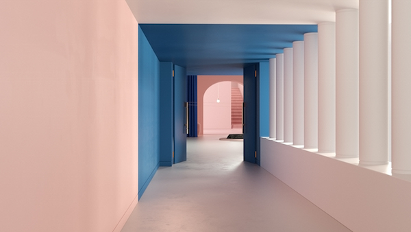 Pastel Interieur Barcelona : Minimalist pastel hued fictional hotel fits right into a wes
