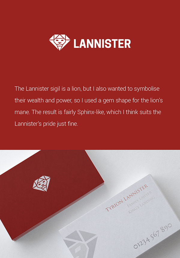 Striking Modern Logos, Business Cards Of \'Game Of Thrones\' Houses ...