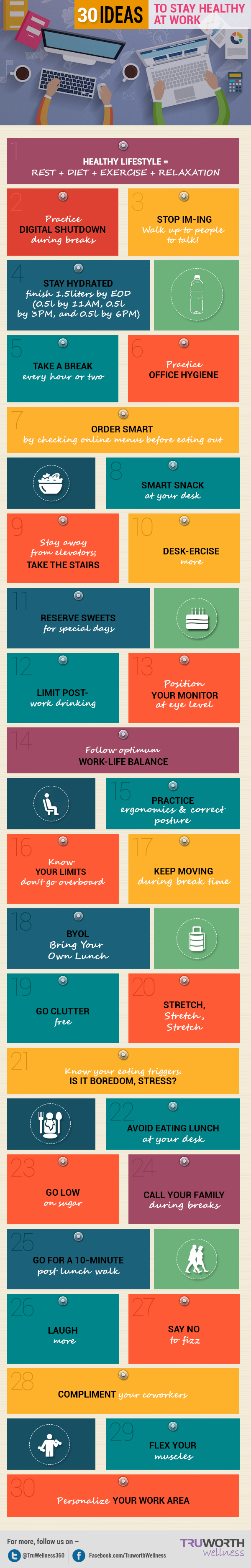 Infographic: 30 Ideas To Stay Healthy At Work