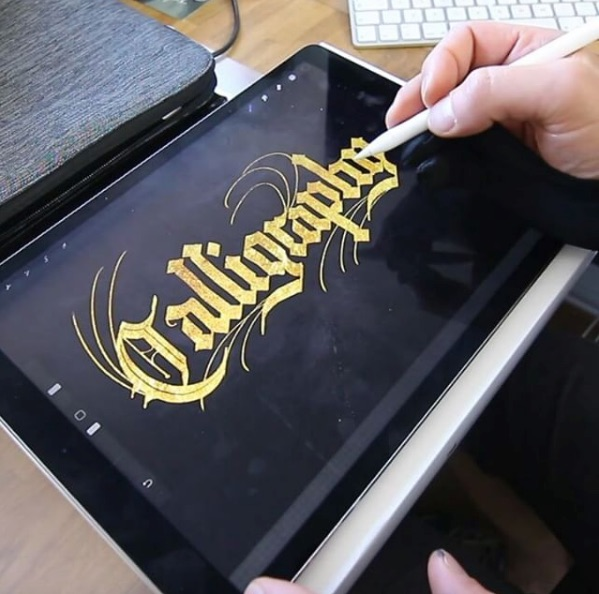 Watch beautiful calligraphy created on an ipad pro with