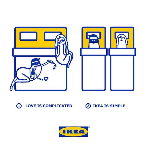 cute illustrations show how complicated love is made simpler with ikea products. Black Bedroom Furniture Sets. Home Design Ideas