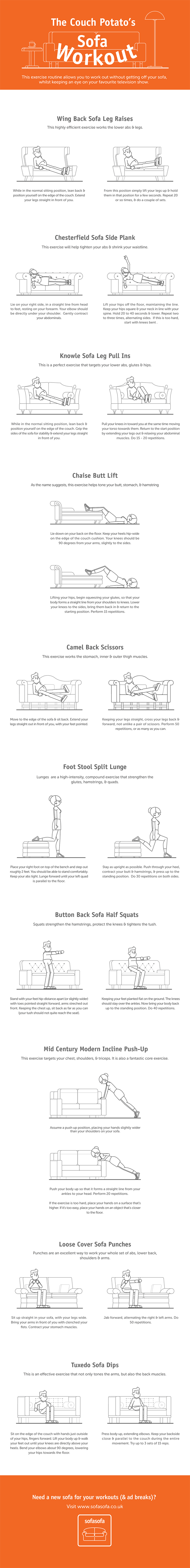Infographic A Set Of Sofa Exercises For Couch Potatoes