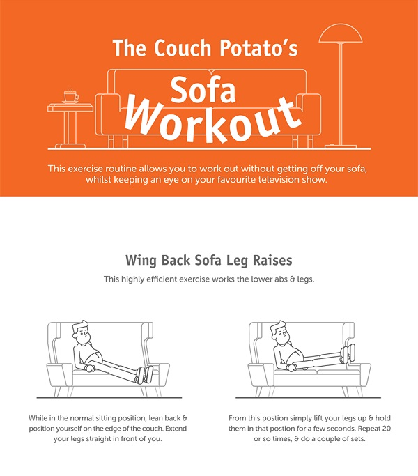 Infographic a set of sofa exercises for couch potatoes for Sofa workout