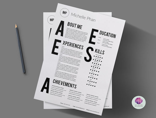 a chic minimalist résumé template that features bold over sized