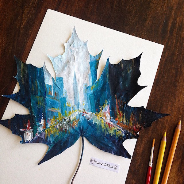 Artist Uses Fallen Autumn Leaves As Canvases For Gorgeous Paintings - DesignTAXI.com