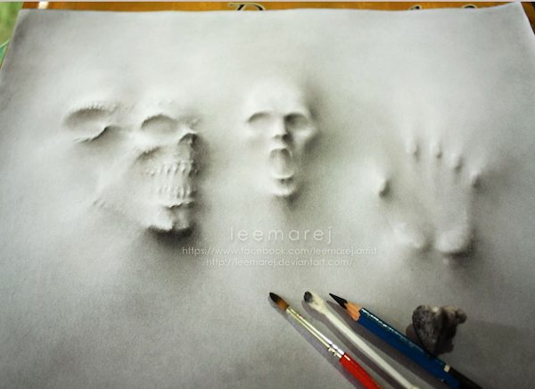Image of: Art Selftaught Artist Jerameel Lualso Known As Leemarejfrom The Philippines Has Created Series Of Scary Drawings Designtaxi Terrifyingly Realistic Drawings Of Ghosts Forcing Their Way Through