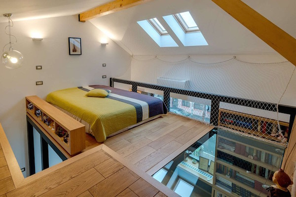 Stylish fun loft bedroom features a transparent glass for 1 bedroom with loft