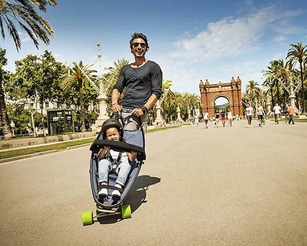 this longboard stroller hybrid lets kids and parents have