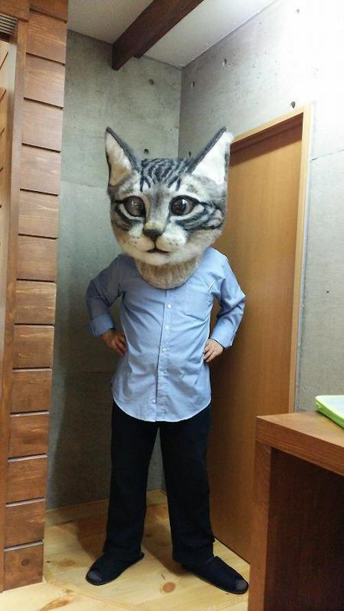 Oversized, Realistic Head Mask Made Of Wool Lets You Dress Up As A Giant Cat
