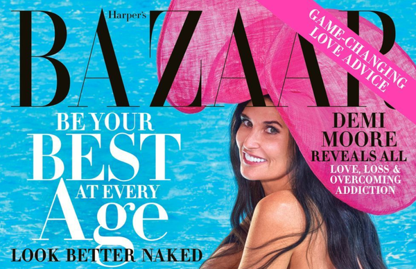 Demi Moore Poses Completely Nude For Harper's Bazaar Magazine Cover